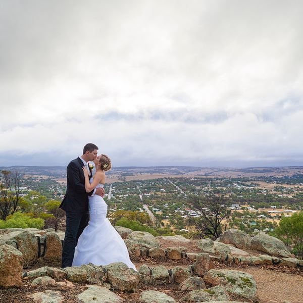 Bride and groom on Mt Brown
